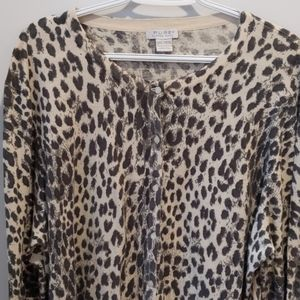 Alfred Sung Pure+  leopard print cardigan 3XL